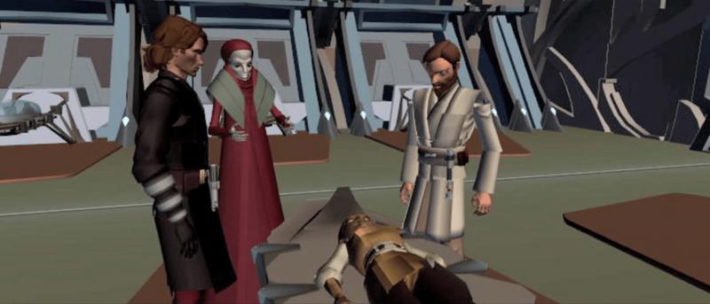 "Star Wars: The Clone Wars, ""A Death on Utapau"": Anakin Skywalker, Inspector Jen June, and Obi-Wan Kenobi inspect the body of Master Tu-Anh"