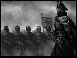 Comisario de la guardia imperial pasando revista a las tropas
