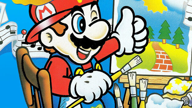 An image from the box art of Mario Paint for the SNES.
