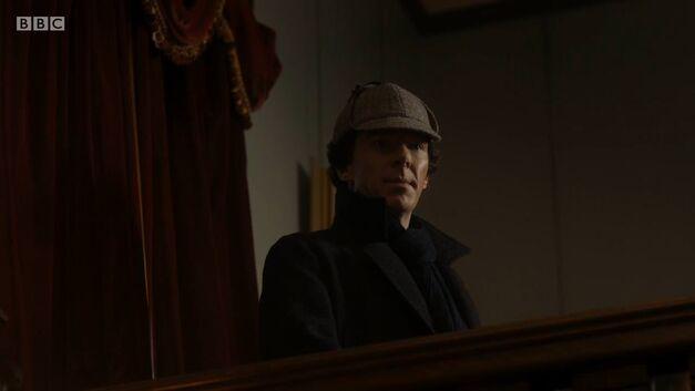 Benedict Cumberbatch Sherlock wearing deerstalker hat