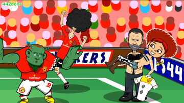 Jessica Lingard as she is being carried by Ryan Giggs