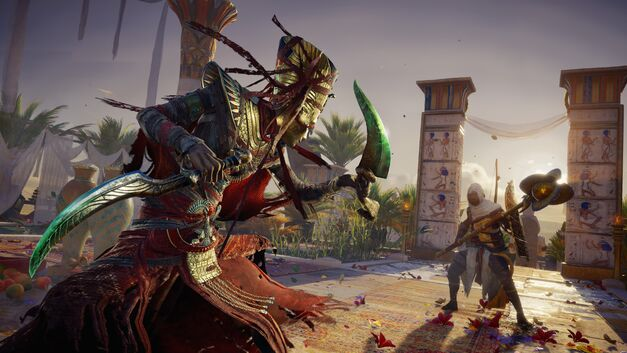 Assassin's Creed Origins' Bayek facing off with an undead Nefertiti