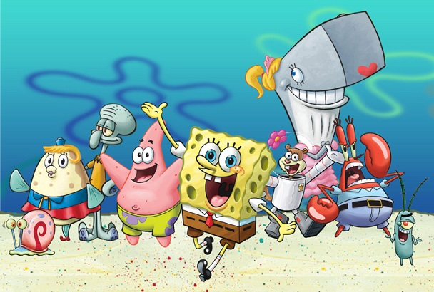 SpongeBob at the bottom of the sea side by side with his friends from the cast.