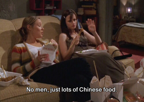 gilmore girls rory and paris eat chinese food