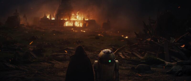 Luke Skywalker and R2-D2 watched the Jedi Academy burn