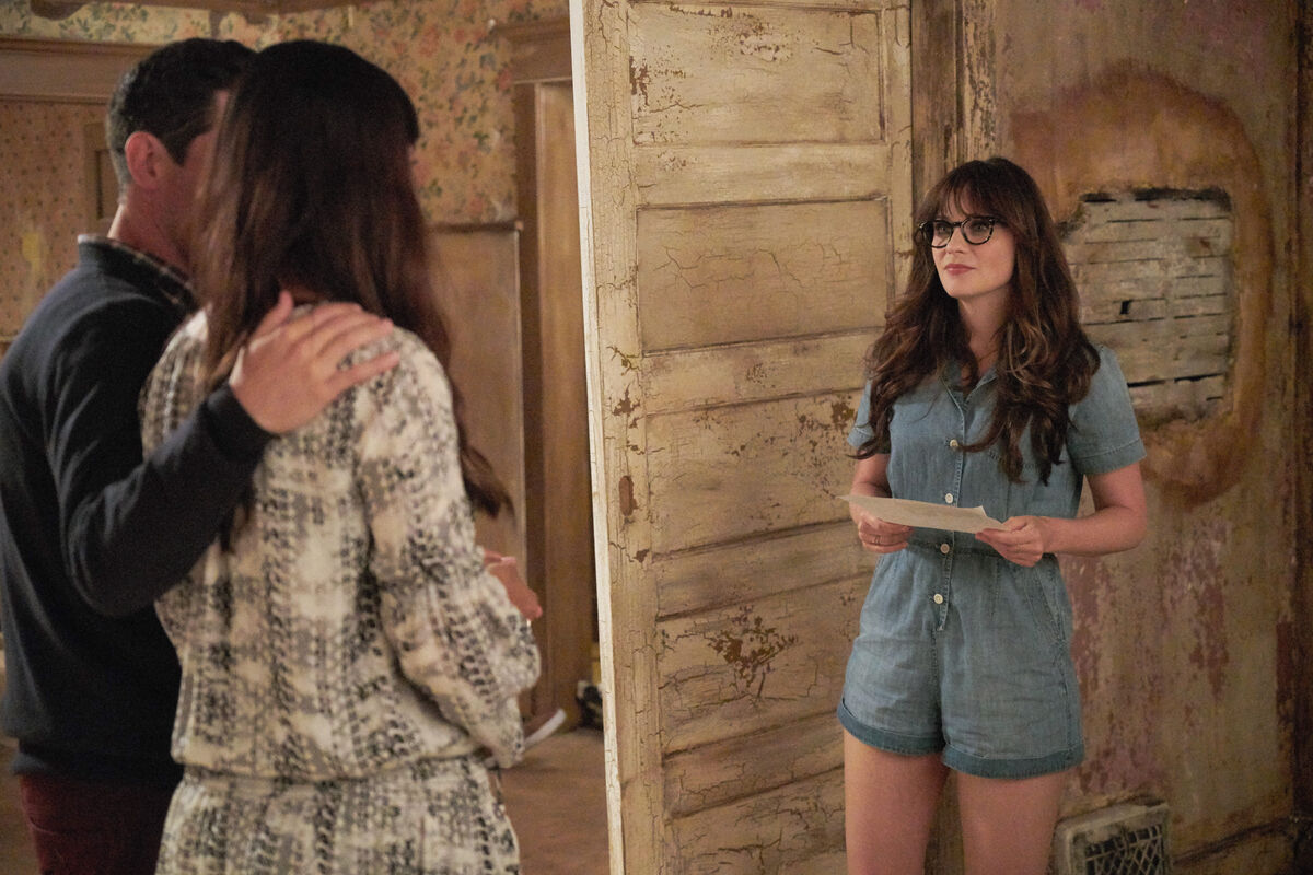 "Max Greenfield, Hannah Simone and Zooey Deschanel in the ""House Hunt"" season premiere episode of New Girl."