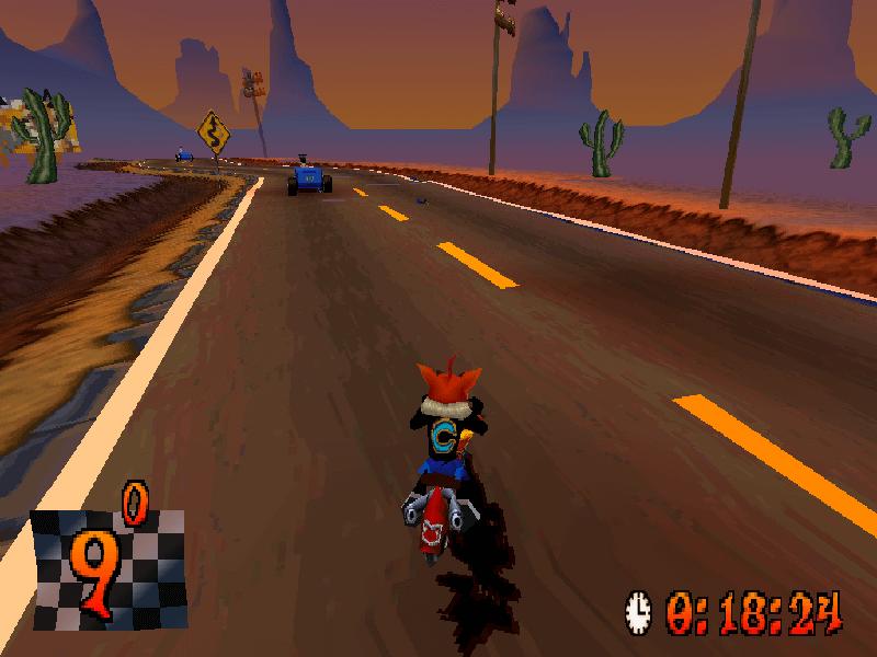 crash bandicoot warped on motorcycle