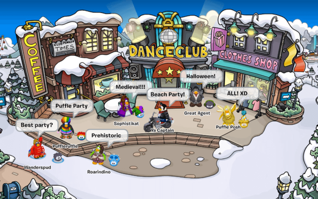 A typical Club Penguin scene.