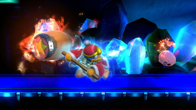 King Dedede swinging his flaming hammer at Kirby