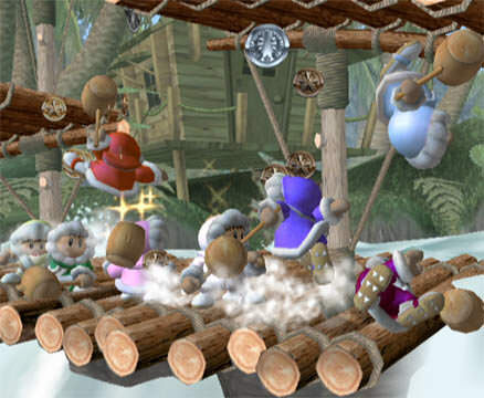 A screenshot of the Ice Climbers in Super Smash Bros. Melee.