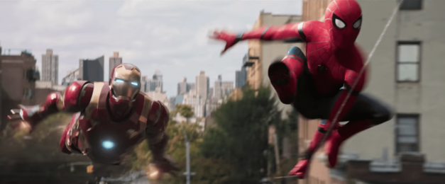 Iron Man and Spidey in Spider-Man: Homecoming