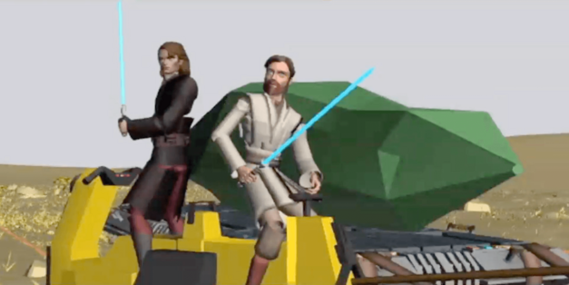 "Anakin Skywalker and Obi-Wan Kenobi defend a massive kyber crystal in the ""Crystal Crisis on Utapau"" story arc"