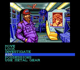 A screenshot of Snatcher for the Sega CD.