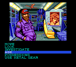 A screenshot of Snatcher for the Sega CD.