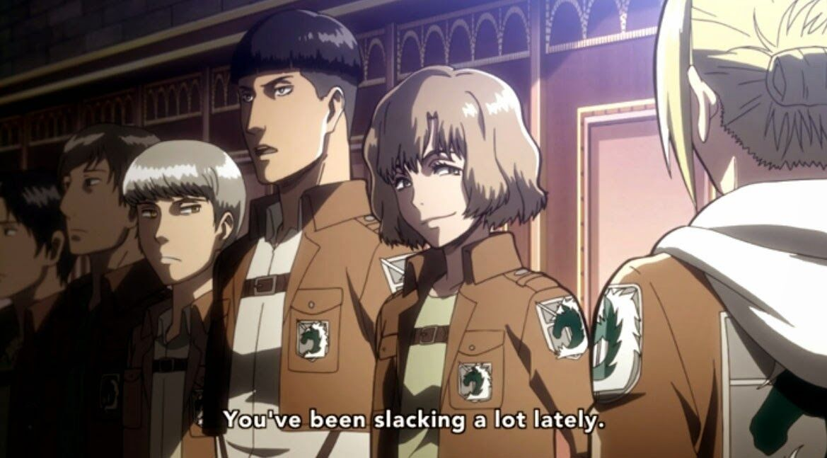 Annie talking to Military Police in Attack on Titan
