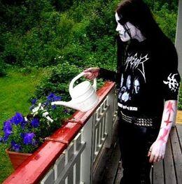 Black metal gardener