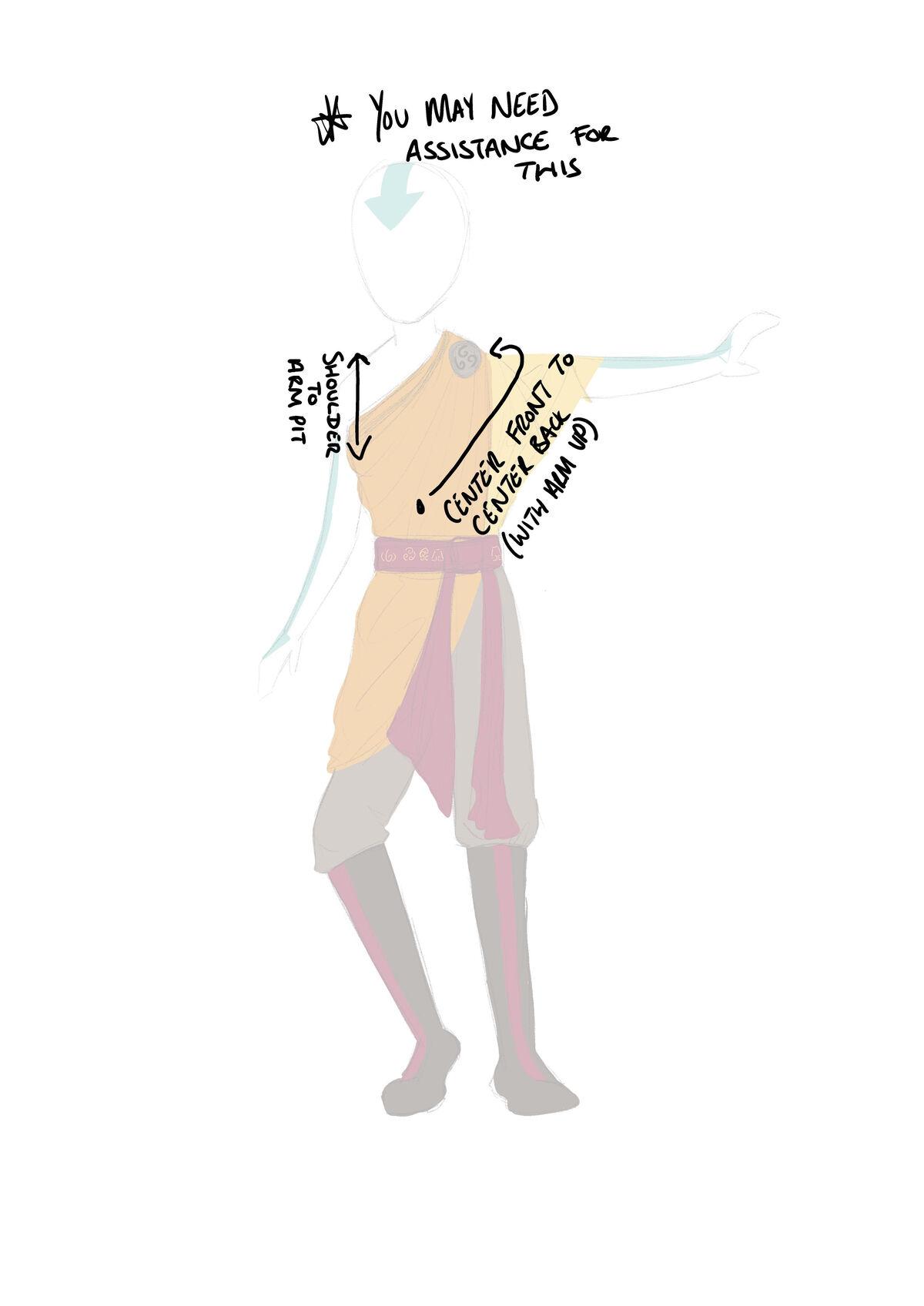 Avatar Aang cosplay Measurements Guide