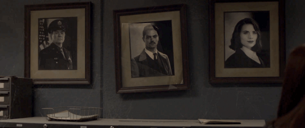 Portraits of Chester Phillips, Howard Stark, and Peggy Carter from Captain America: The Winter Soldier