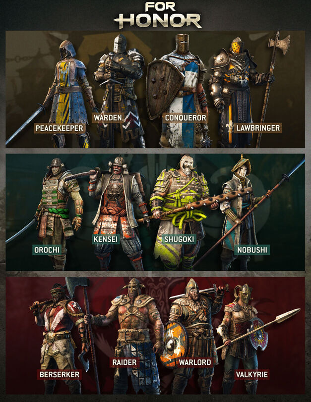 All of the For Honor heroes in the 3 different factions.