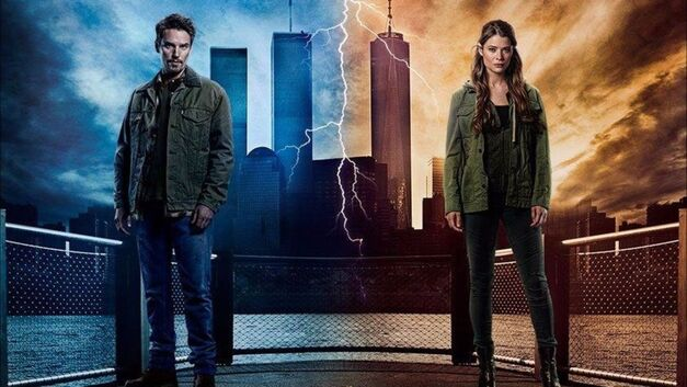 Frequency promo image of father and daughter in New York, the past showing the Twin Towers in the background and the future without