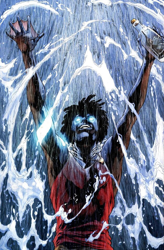 Aqualad Jackson Hyde splashed by water