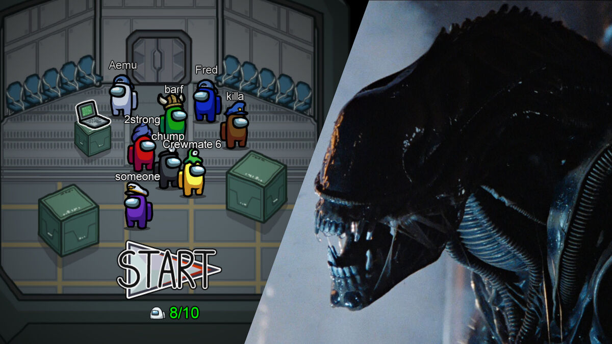 Among Us Start Screen & Alien Xenomorph