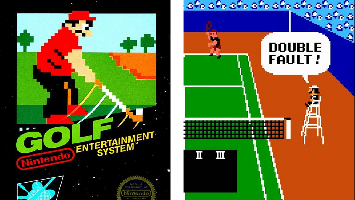 Mario on the titles of both Golf and Tennis for the NES