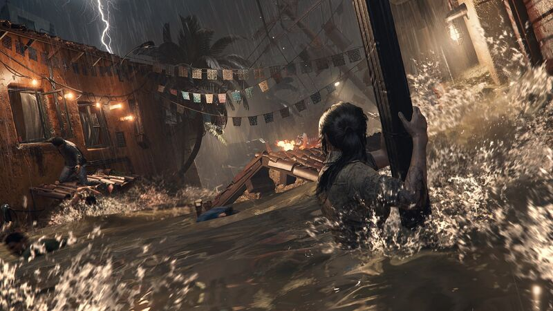 Lara getting swept away by a flood in Shadow Of The Tomb Raider