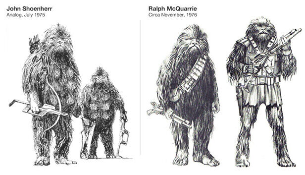 Chewbacca character sketches, Star Wars