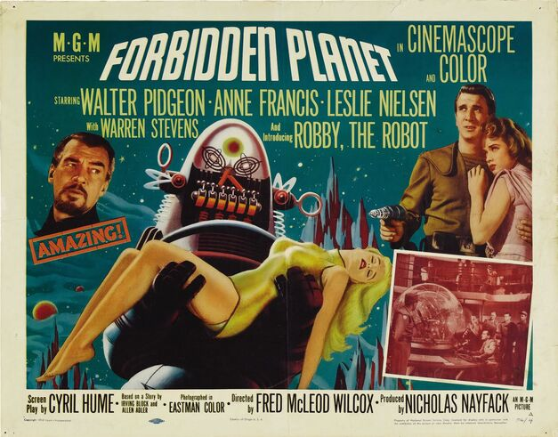 This iconic movie poster for Forbidden Planet shows an illustration of a robot holding a damsel in distress.