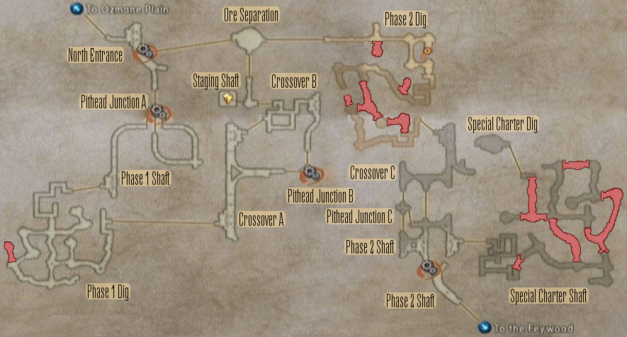 Map of the Henne Mines, one of several complex map designs in Final Fantasy XII