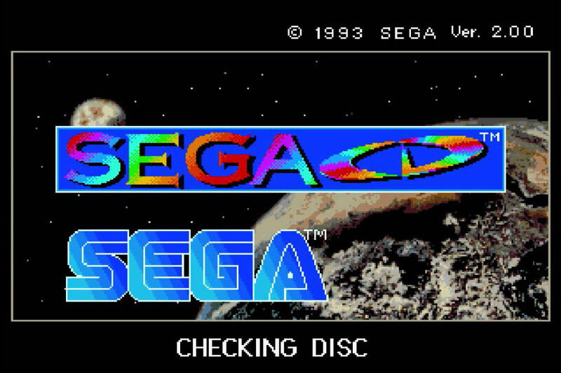 A screenshot of the Sega CD boot screen.