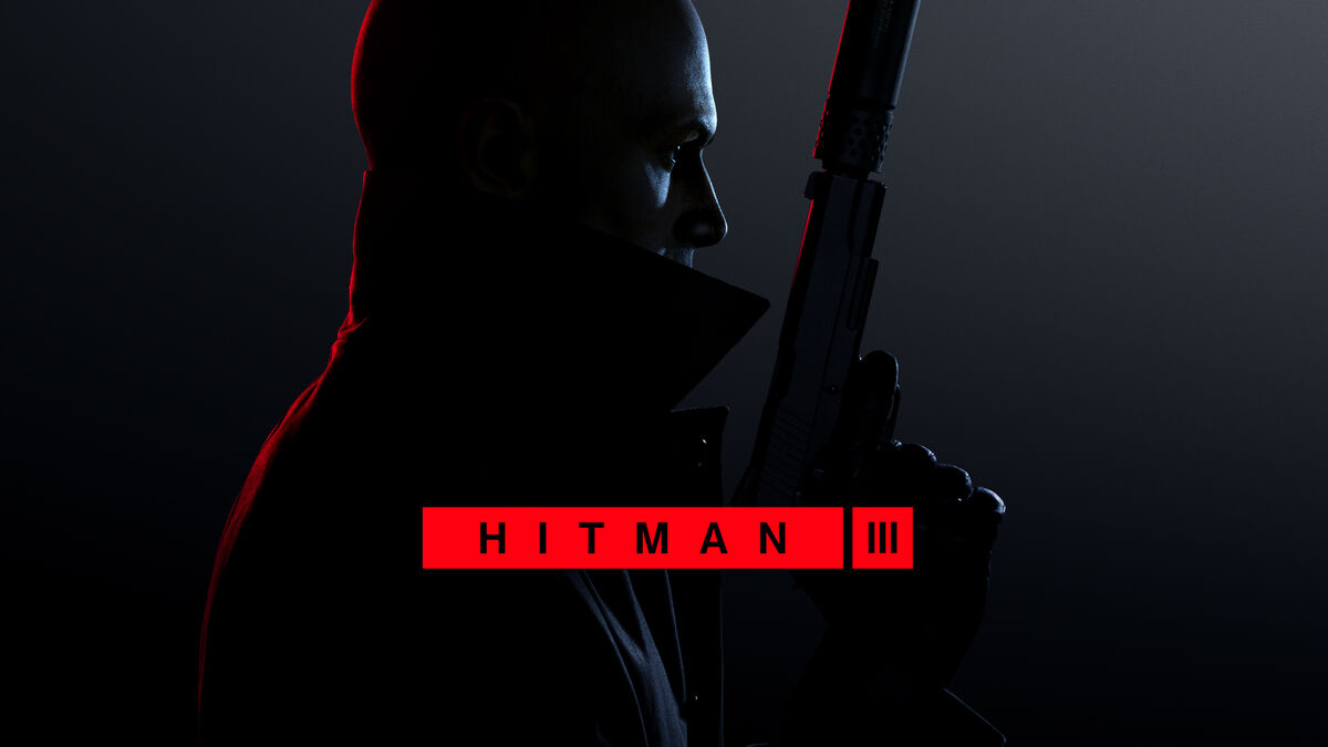 Hitman III AGent 47 Holds a gun facing his silhouette to the right