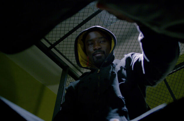Luke Cage in a moment of victory