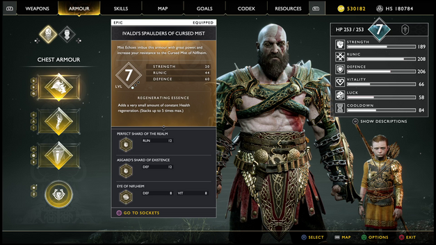 Armour page in God of War