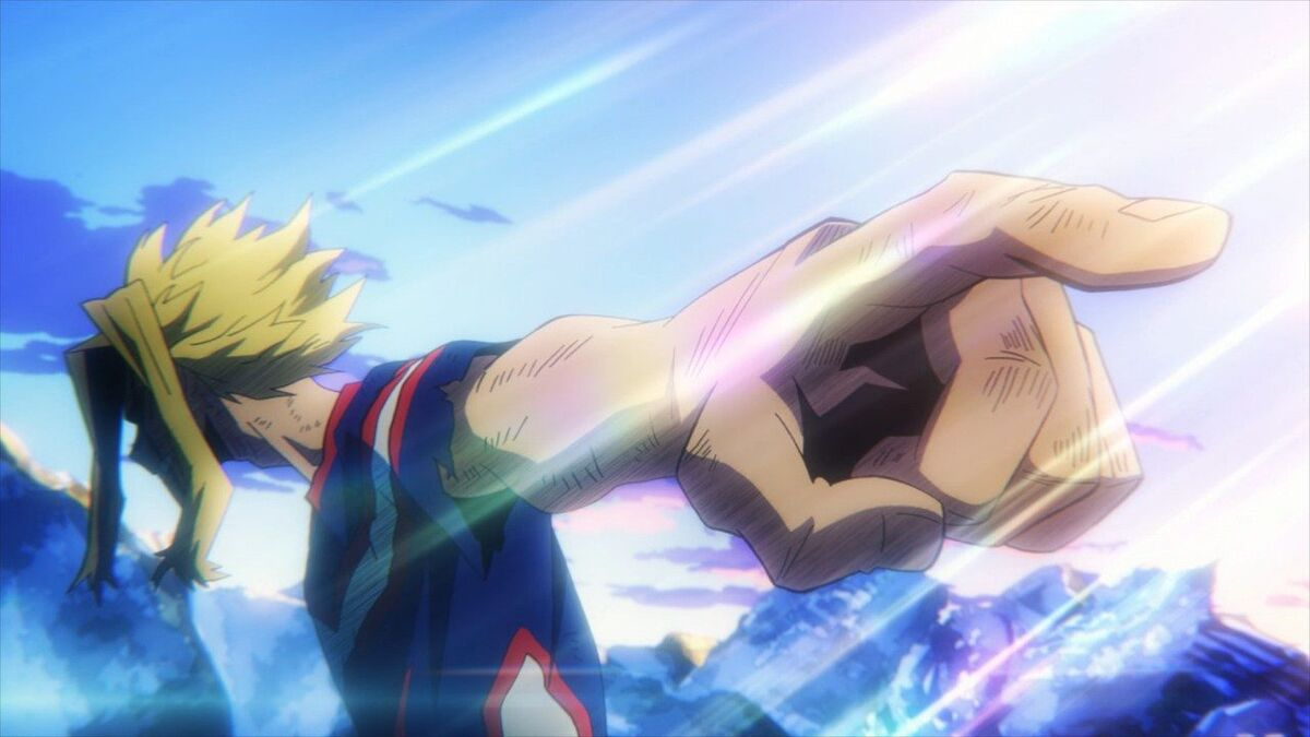 All Might pointing out Deku as his successor
