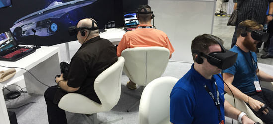 Four people with virtual-reality headsets on playing the game