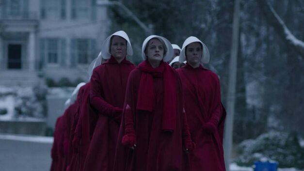 The Handmaid's at the end of season 1 of The Handmaid's Tale