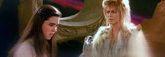 Sarah and Goblin King David Bowie in Labyrinth