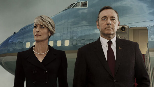 house of cards frank and claire underwood -- robin wright and kevin spacey -- outside air force one