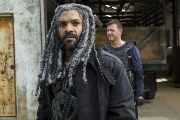 Khary Payton as Ezekiel, Karl Makinen as Richard - The Walking Dead _ Season 7, Episode 2 - Photo Credit: Gene Page/AMC