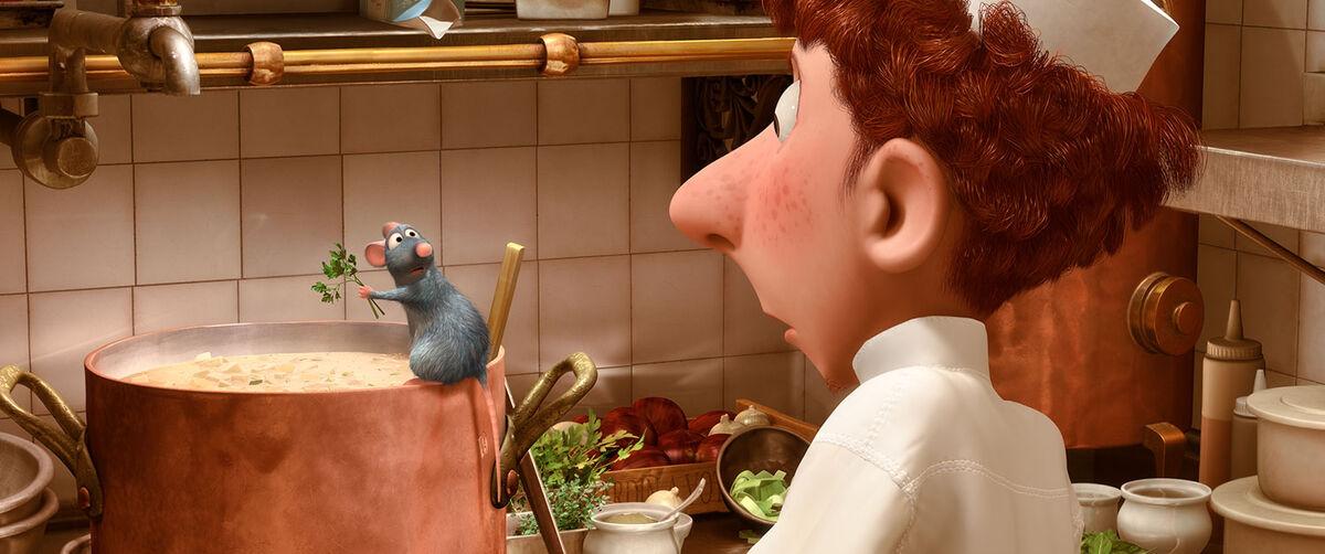 Remy and Linguini in Ratatouille.