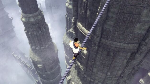 A screenshot of the boy walking a tightrope in The Last Guardian.