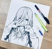 中野三玖 書店用簽繪板(2018年11月10日)