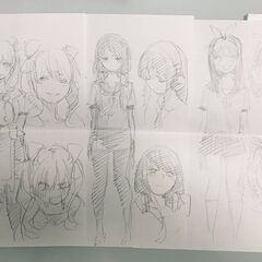 Negi's old sketch of the Nakano quintuplets