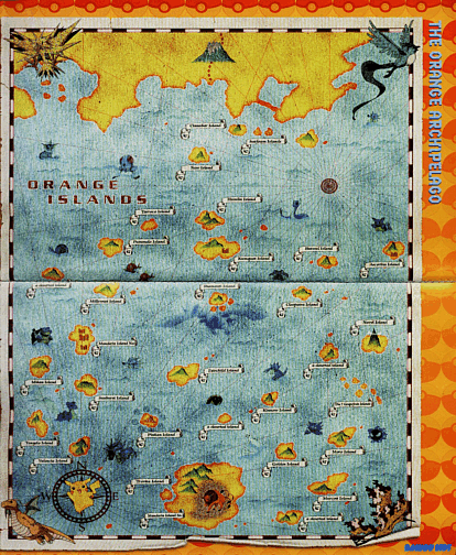 An illustrated map of the Orange Islands Pokemon.