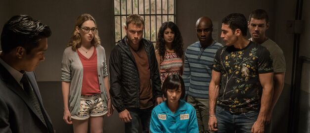 Sense8 cluster group in prison interrogation room