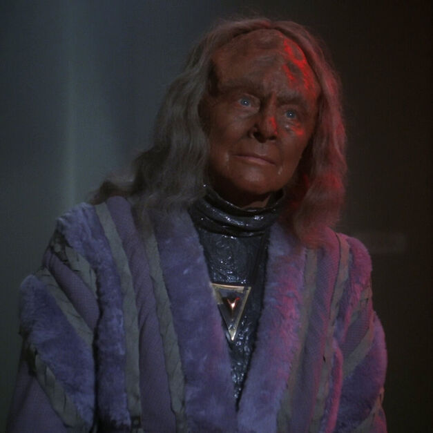 Kahlest the Klingon in a purple robe