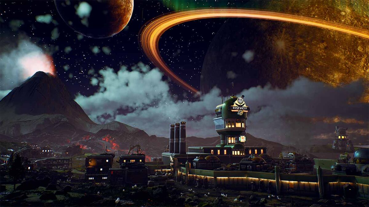 Outer Worlds space view planets with rings