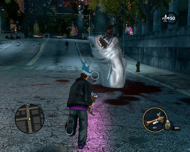 shark-o-matic shark eating victim in the street from game Saints Row